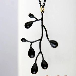 Black Branch Necklace, Mixed Metal, 100% Handmade